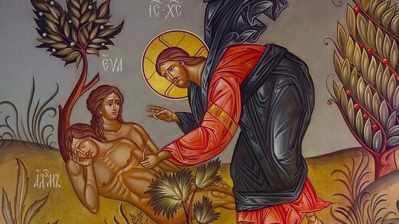 икона христос адам и ева