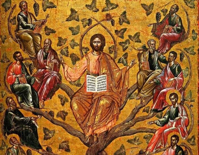 икона апостолы и христос