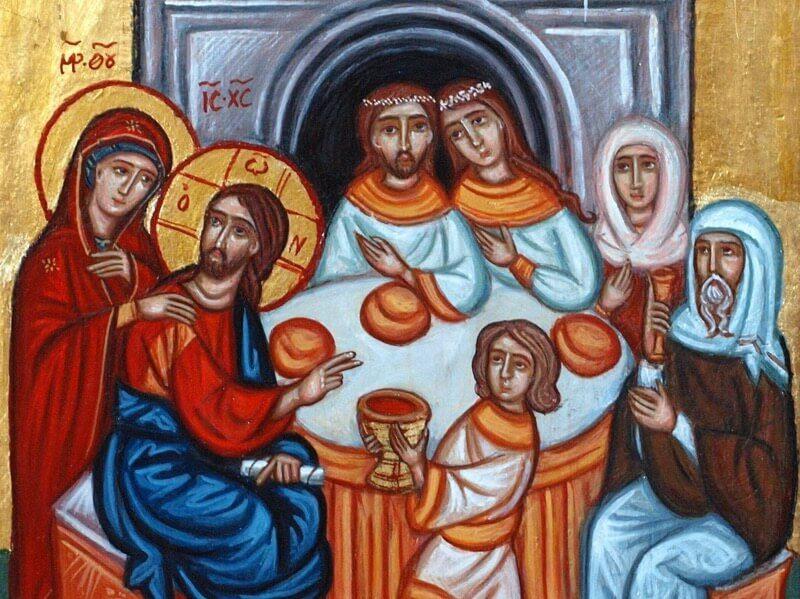 брак в кане галилейской икона