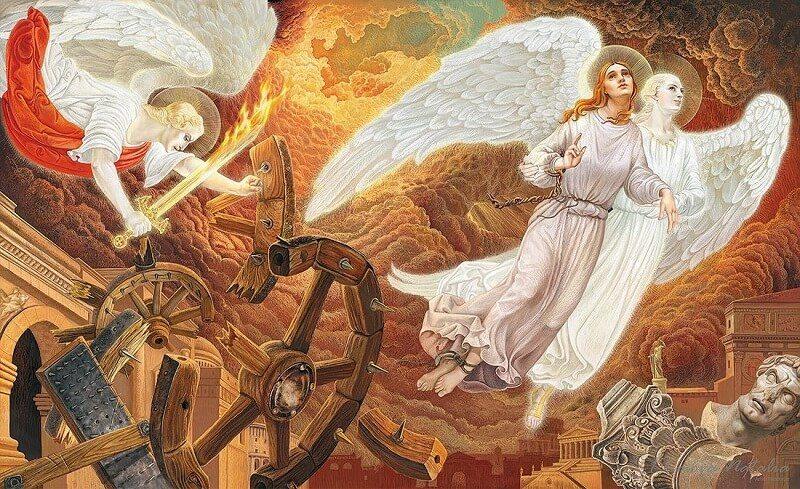 Ангелы спасают святую Екатерину