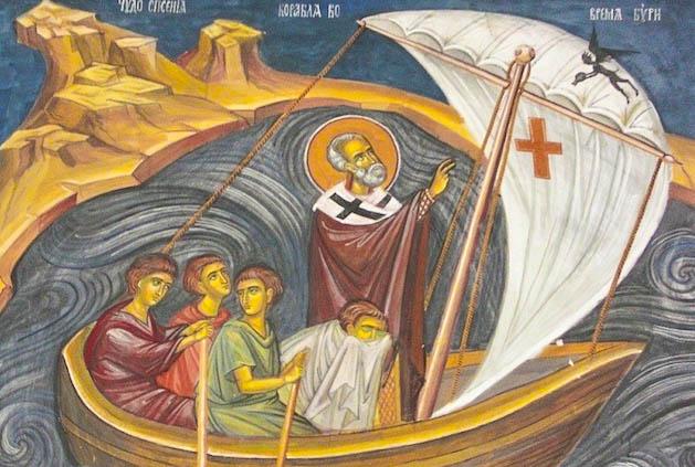 Святитель Николай помогает морякам