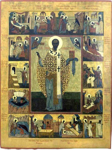 Икона святителя Николая Чудотворца с изображением различных моментов из его жития