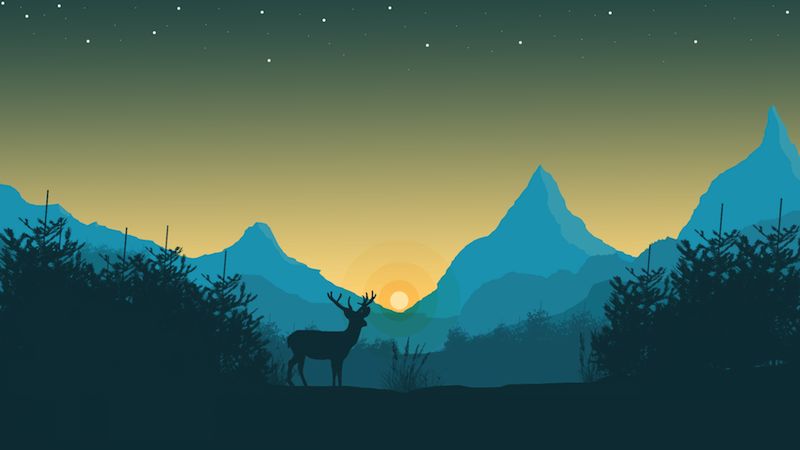 Горы и олень
