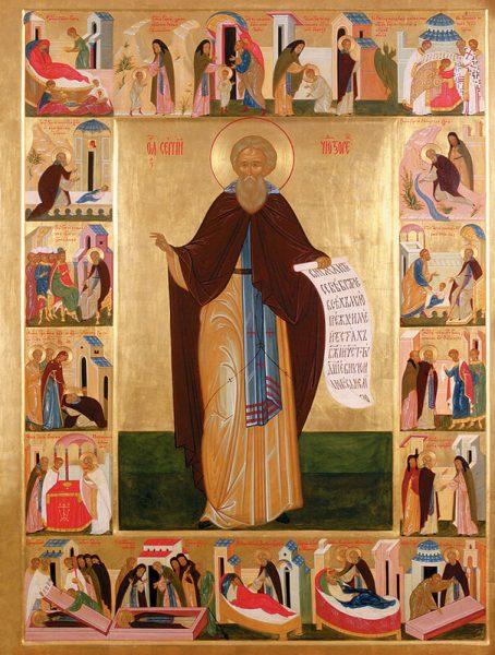 Икона преподобного Сергия Радожнеского с клеймами