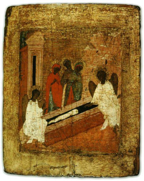 Икона жены-мироносицы у гроба Господня. XV век.