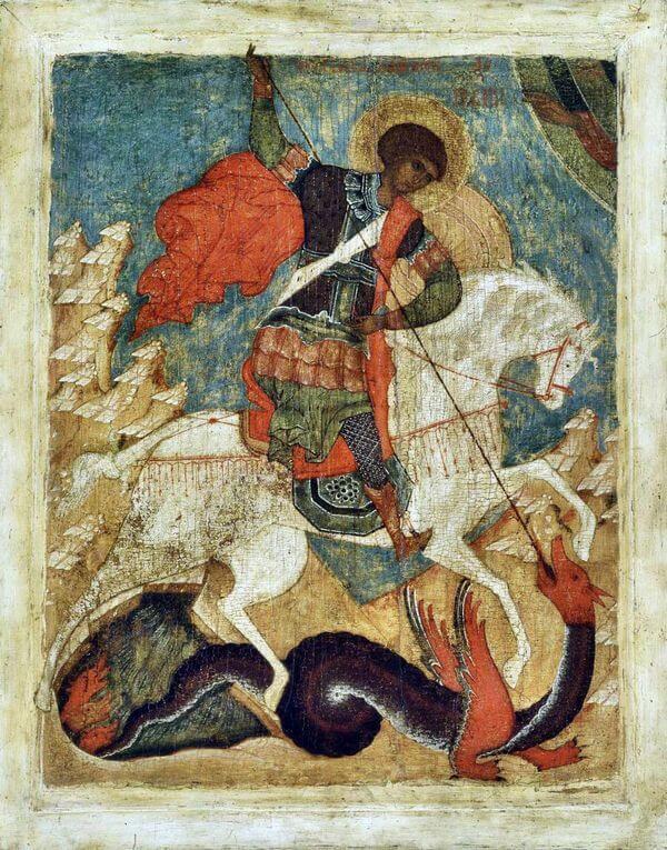 Древняя русская икона Георгия Победоносца