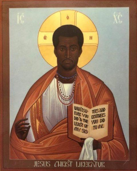 необычная икона темнокожий Спаситель