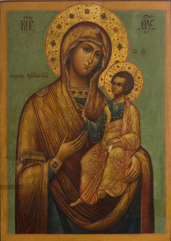 Зеленая Иверская икона Божией матери